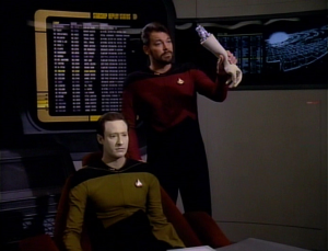 "Of note, this scene did not play in Riker's memory while he was doped up in ""Shades of Gray"". We didn't get to see episodes we wanted to see again there, oh no."