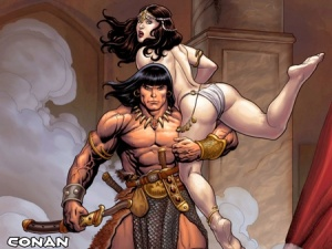 The objectification of the woman in this image comes more from how she is held (and the phallic image in Conan's hand) than from the presence or lack of clothing.